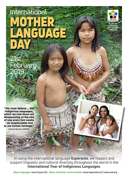 International Mother Language Day, 21st February 2019 - click for a larger, printable version of this poster (will open in a new window)
