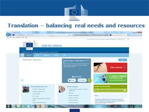 Translation - balancing real needs and resources